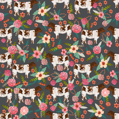 shorthorn cattle fabric cow farm and florals fabric - charcoal fabric by petfriendly on Spoonflower - custom fabric
