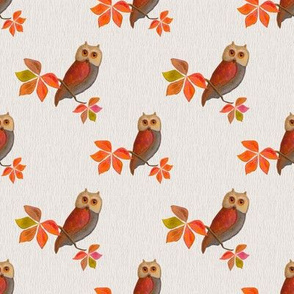 Friendly Owls on Parchment Background