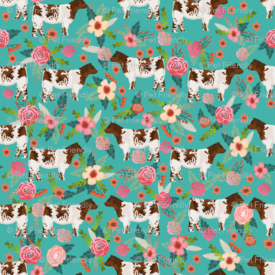 shorthorn cattle fabric cow farm and florals fabric - turquoise