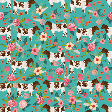 shorthorn cattle fabric cow farm and florals fabric - turquoise fabric by petfriendly on Spoonflower - custom fabric