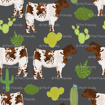 shorthorn cattle fabric cow and cactus design - charcoal