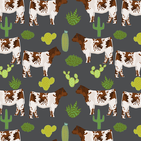 shorthorn cattle fabric cow and cactus design - charcoal fabric by petfriendly on Spoonflower - custom fabric