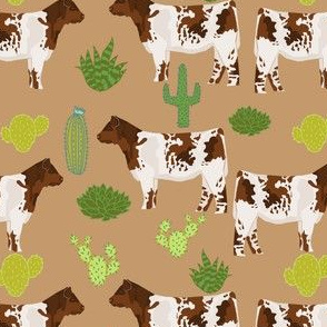 shorthorn cattle fabric cow and cactus design - brown