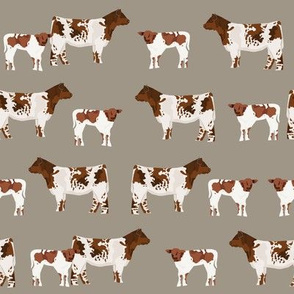 shorthorn cattle and calf fabric cows fabric - brown
