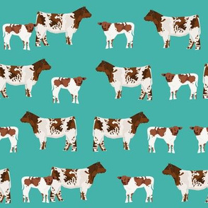 shorthorn cattle and calf fabric cows fabric - turquoise