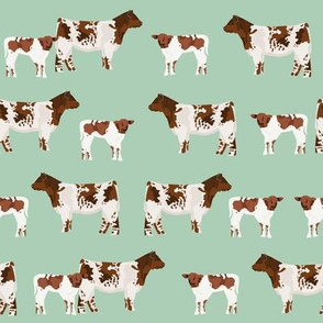 shorthorn cattle and calf fabric cows fabric - mint