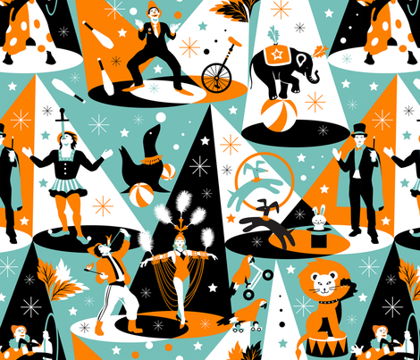 In the spotlight – circus performers fabric by camcreative on Spoonflower - custom fabric