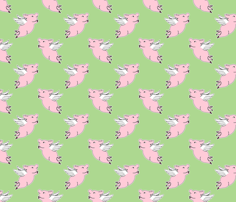 When Pigs Fly - Green fabric by ameliae on Spoonflower - custom fabric