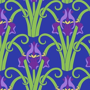 Art Nouveau Irises  - Vivid Color