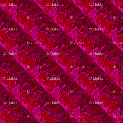 Abstract Spiky Waves Red Upholstery Fabric