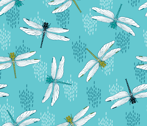Dragonflies - Teal fabric by pinky_wittingslow on Spoonflower - custom fabric