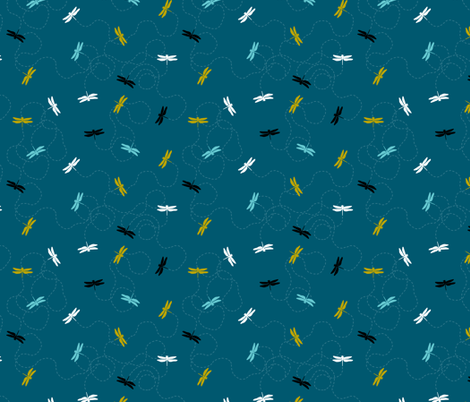 Dragonfly Backing - Dark Teal fabric by pinky_wittingslow on Spoonflower - custom fabric