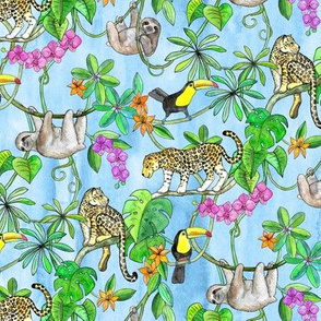 Rainforest Friends - watercolor animals on textured blue - small