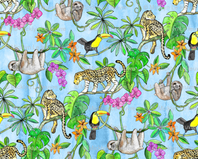 Rainforest Friends - watercolor animals on textured blue - large