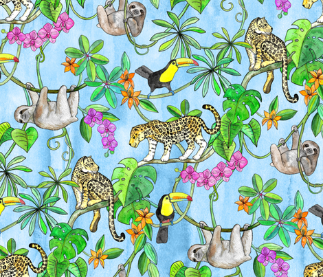 Rainforest Friends - watercolor animals on textured blue - large fabric by micklyn on Spoonflower - custom fabric