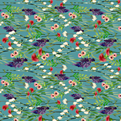 Wild Flowers on Teal Green