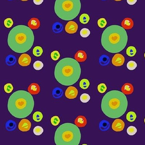 Tumbling Candy Drops on Dark Mulberry - Medium Scale