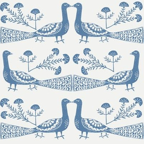 peacock fabric // linocut woodcut woodblock feathers design - blue and white
