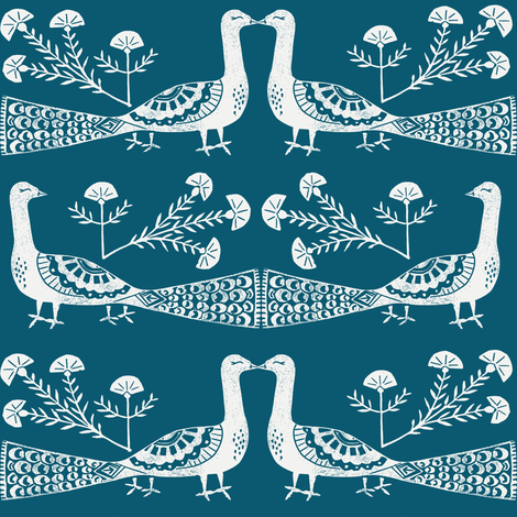 peacock fabric // linocut woodcut woodblock feathers design - teal fabric by andrea_lauren on Spoonflower - custom fabric