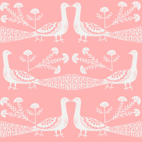 peacock fabric // linocut woodcut woodblock feathers design - peach fabric by andrea_lauren on Spoonflower - custom fabric