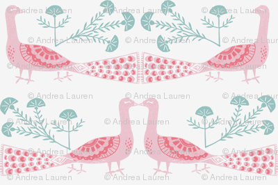 peacock fabric // linocut woodcut woodblock feathers design - pink and mint