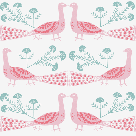 peacock fabric // linocut woodcut woodblock feathers design - pink and mint fabric by andrea_lauren on Spoonflower - custom fabric