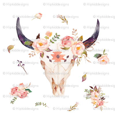 Pink Tribal Bison with Florals