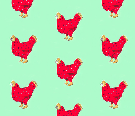 karamckean red chicken with mint background fabric by mckeank on Spoonflower - custom fabric