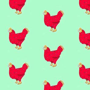 karamckean red chicken with mint background