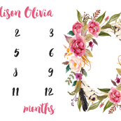 Personalized Bohemian Floral Feathers Baby Milestone Blanket
