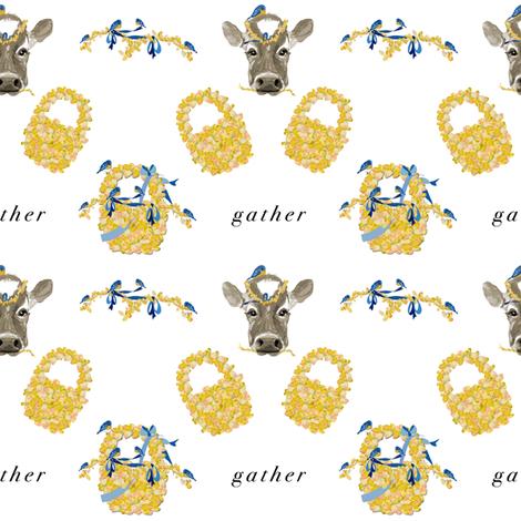 Gather bluebirds and cows fabric by karenharveycox on Spoonflower - custom fabric