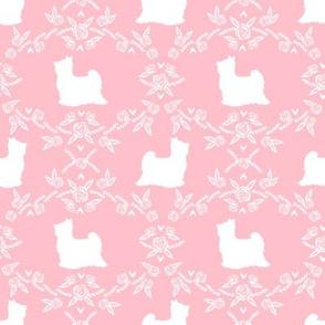 Biewer Terrier dog silhouette florals pink