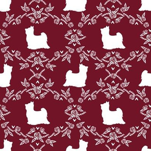 Biewer Terrier dog silhouette florals ruby