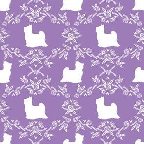 Biewer Terrier dog silhouette florals purple