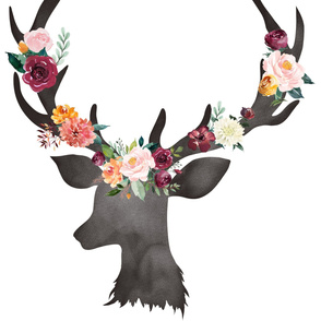 Floral Deer Hear Autumn Watercolor 1 Yard Minky