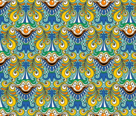 Clown Damask fabric by sufficiency on Spoonflower - custom fabric