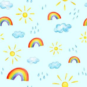 Blue watercolor pattern of big sun, rainbow, cloud and rain