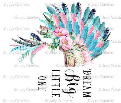 "42""x36"" Aqua Pink Headdress / Dream Big"