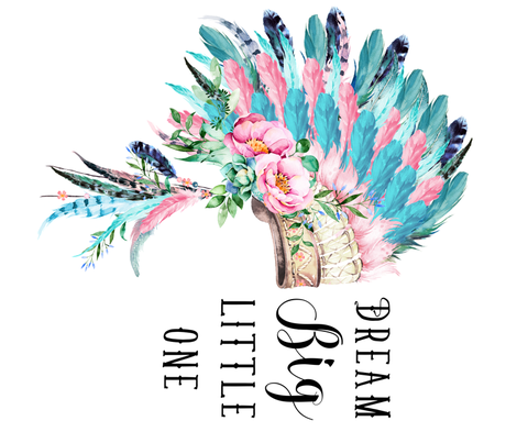 "42""x36"" Aqua Pink Headdress / Dream Big fabric by shopcabin on Spoonflower - custom fabric"