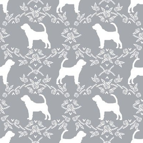 Bloodhound silhouette dog breed floral grey
