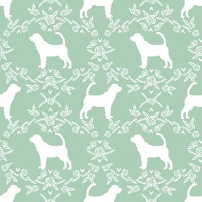 Bloodhound silhouette dog breed floral mint