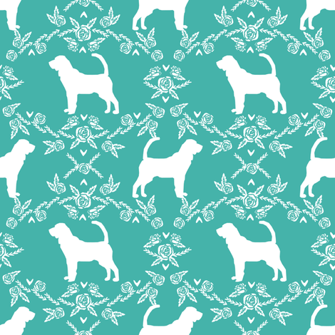 Bloodhound silhouette dog breed floral turquoise fabric by petfriendly on Spoonflower - custom fabric