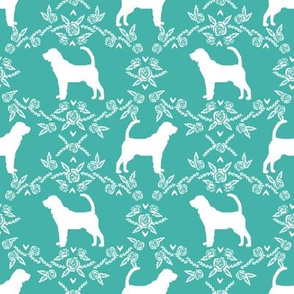 Bloodhound silhouette dog breed floral turquoise