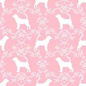 Bloodhound silhouette dog breed floral pink