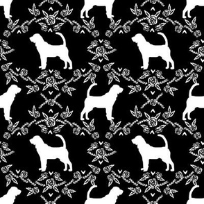 Bloodhound silhouette dog breed floral black and white