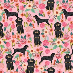 Coonhound black and tan dog breed floral pink