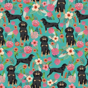 Coonhound black and tan dog breed floral turquoise