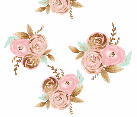 Blush Flowers With Mint Leaves fabric by orangeblossom805 on Spoonflower - custom fabric