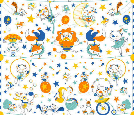 animal circus performers fabric by gnoppoletta on Spoonflower - custom fabric