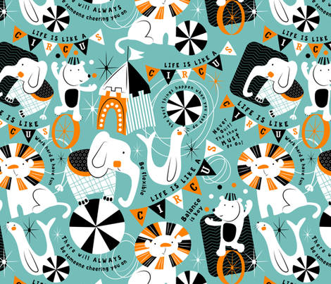 Life Is Like A Circus fabric by sarah_treu on Spoonflower - custom fabric